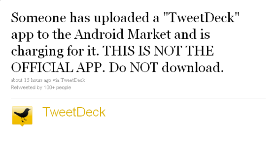 fake tweetdeck for android