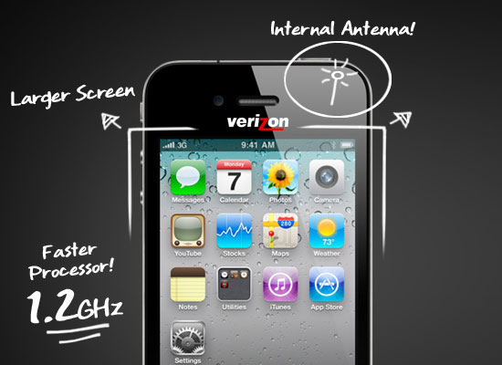 verizon iphone 4 at&t faster processor