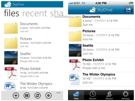 microsoft launches skydrive app for ios and windows phone