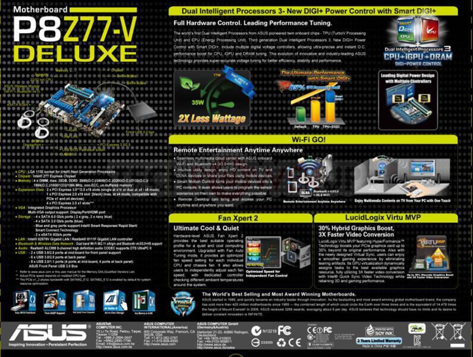 ASUS Sabertooth Z77, P8H77-M Pro M-ATX, P8Z77-I Deluxe Mini