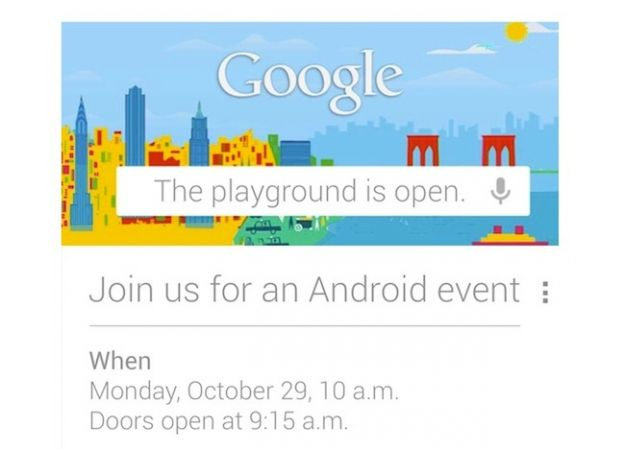 Google's invite for October 29 event