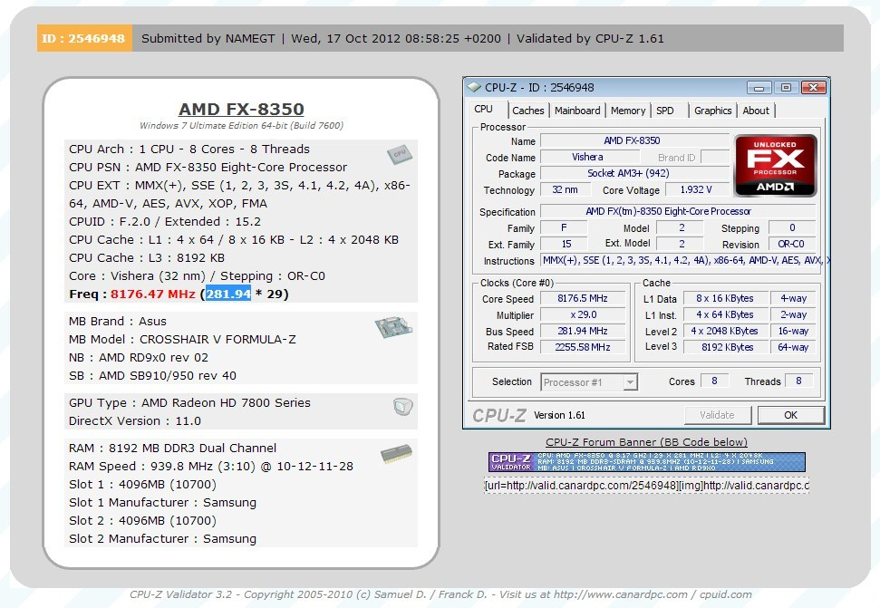 AMD FX-8350 Cracks 8 GHz Frequency Barrier With All Cores