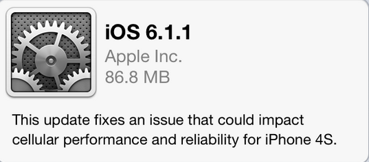 iOS 6.1.1 iPhone 4S