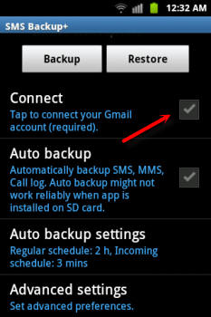 backup sms and mms on android device