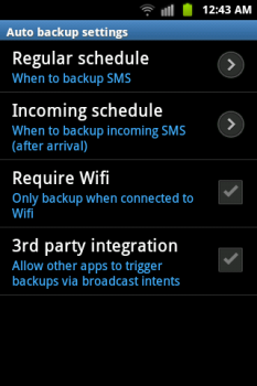 backup sms, mms and call log entries