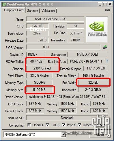 GTX Titan LE GPU-z