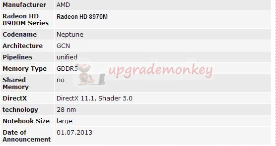 HD 8970M Specs