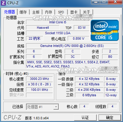 Haswell Core i5 CPUz