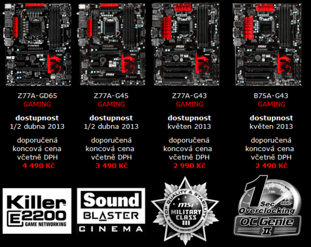 Z77 Gaming Series Motherboards Lineup