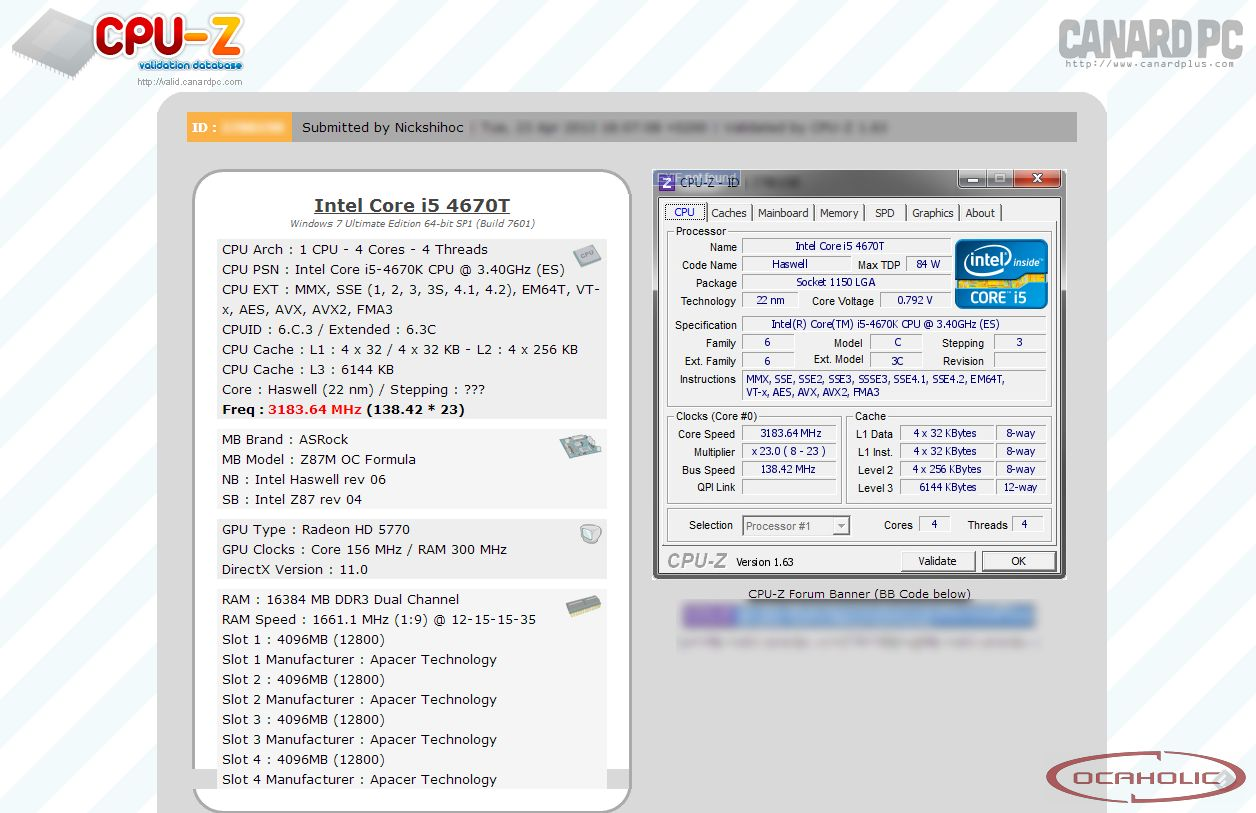 Intel Core i7-4770K Overclocked to 7 GHz - Several Z87