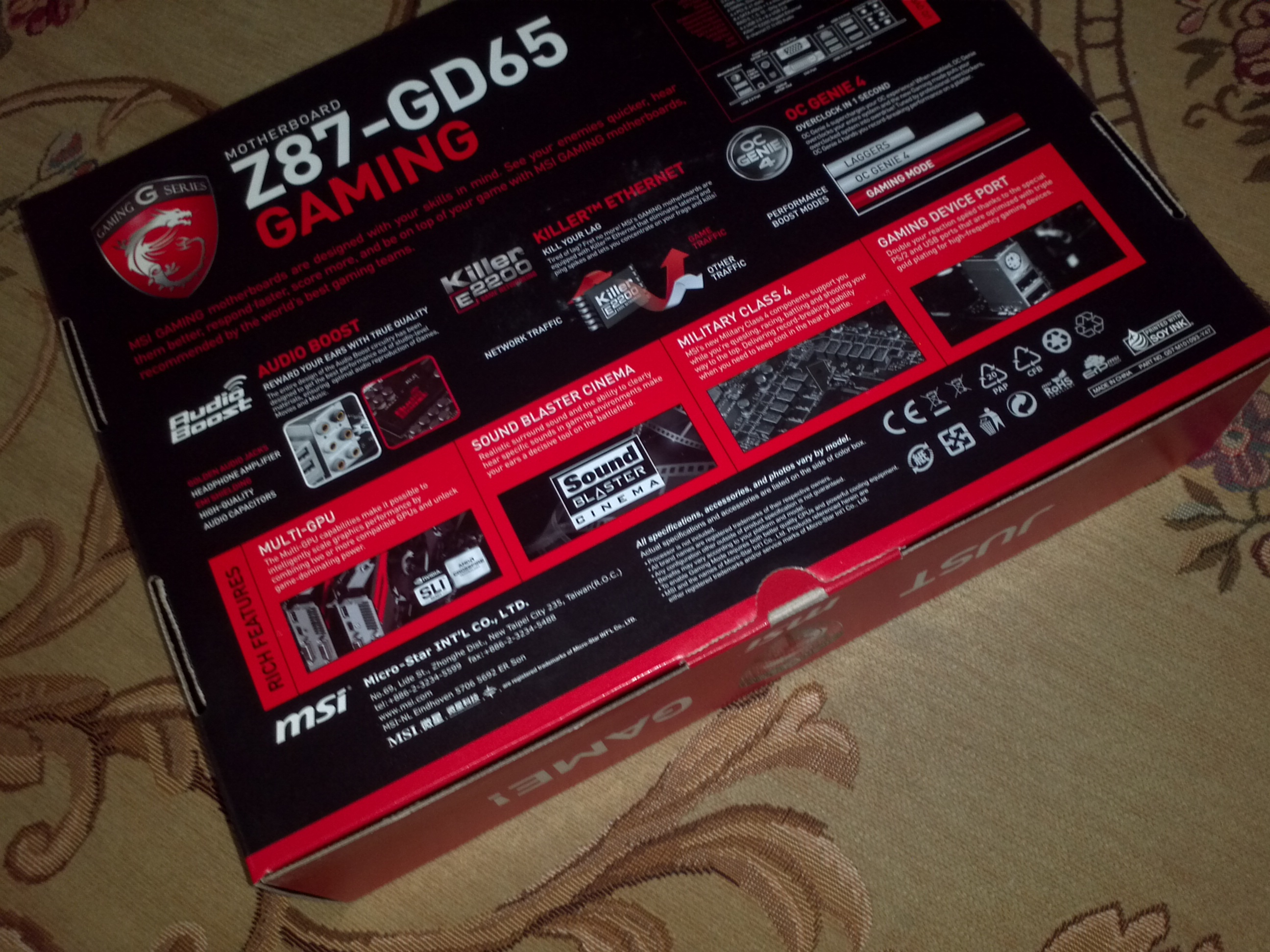 MSI Z87-GD65 Gaming Motherboard Pictured and Detailed