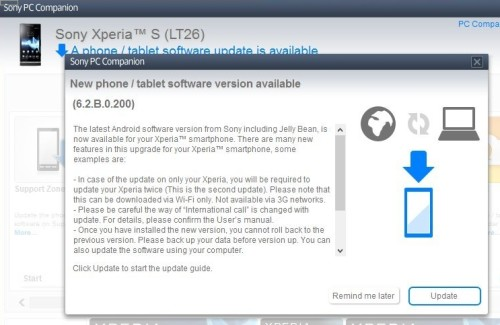 update xperia s to 4.1.2 jelly bean pc companion