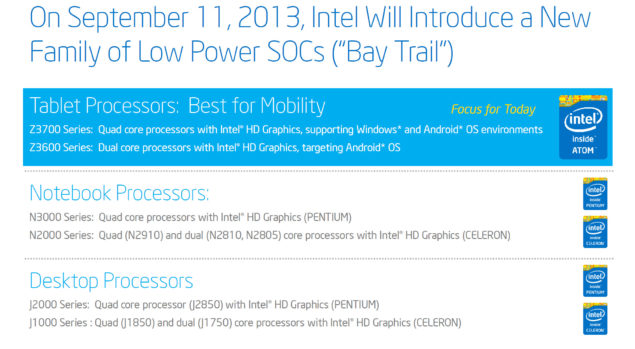 Intel Bay Trail Z3000 Launch