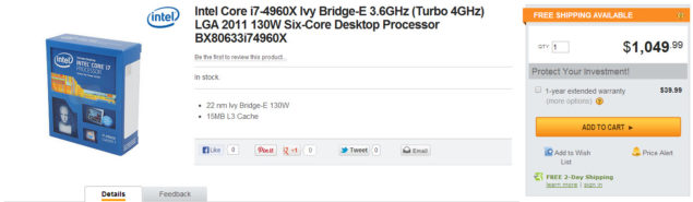 Intel Ivy Bridge-E Core i7-4960X Newegg