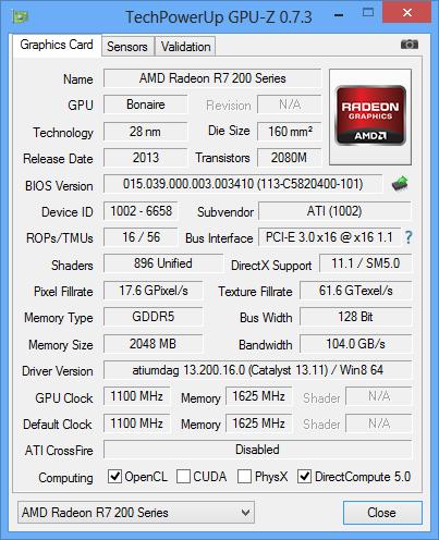 AMD Radeon R7 260X GPUz