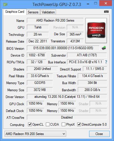 HIS Radeon R9 280X GPUz