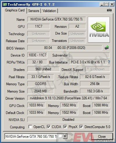 NVIDIA GeForce GTX 750 Ti GPUz
