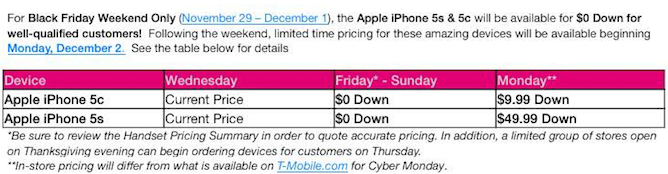 t-mobile iphone 5s black friday deal cyber monday iphone 5s