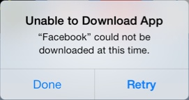 unable to download facebook app