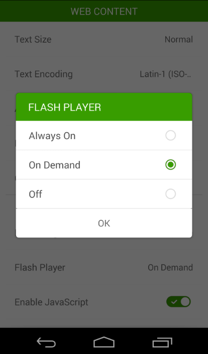 enable flash player in android 4.4 kitkat