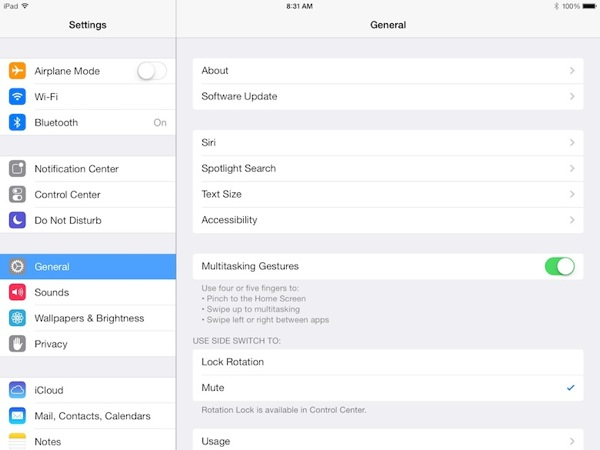 ipad air multitasking gestures