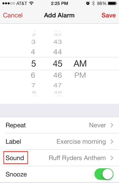 set song as iphone alarm