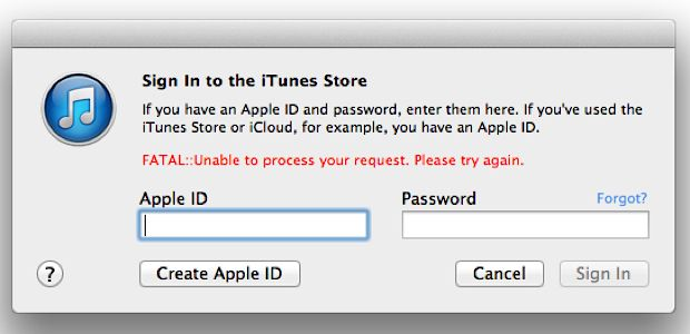 fatal itunes error cannot connect to itunes
