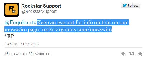 rockstar support tweet