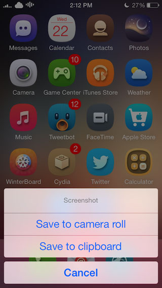 ios 7 jailbreak screenshot tweak