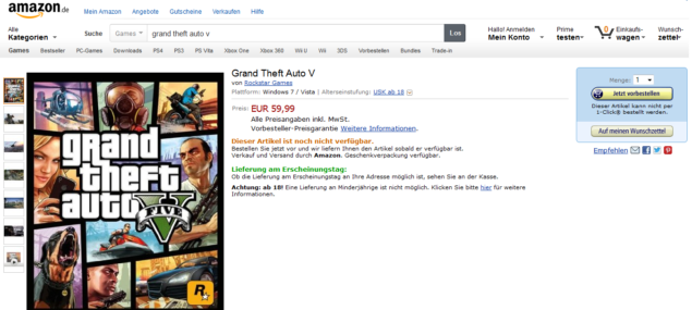 GTA V for PC Still Available on Amazon Germany