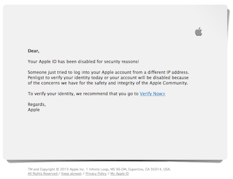 apple id phishing scam email