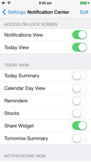 iOS 7 notification center jailbreak tweak