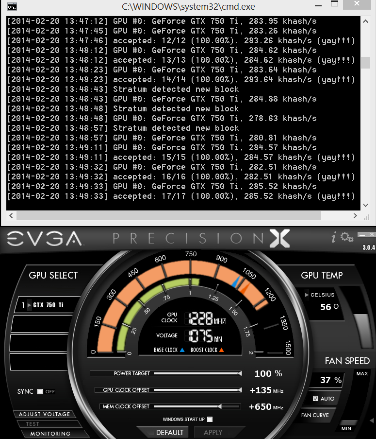 mining cryptocurrency on a 750 ti