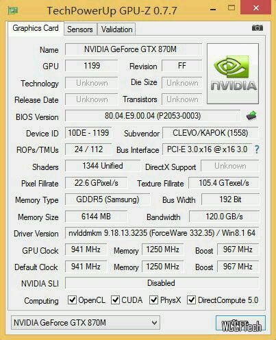 GTX 870M Maxwell Mobility GPU Z Screen