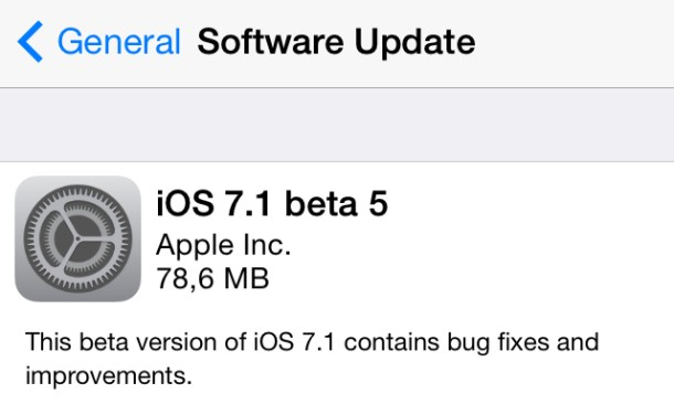 ios 7.1 beta 5 changelog