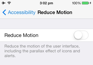 fix motion sickness in iOS 7.1