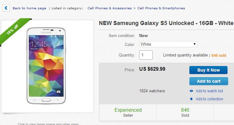 Galaxy S5 deals ebay