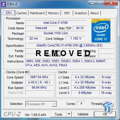 Intel Core i7-4790 CPUz
