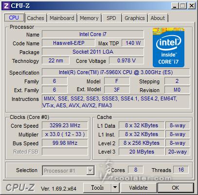 Intel Core i7-5960X CPUZ