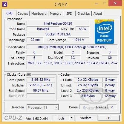 Pentium G3258 CPU-Z