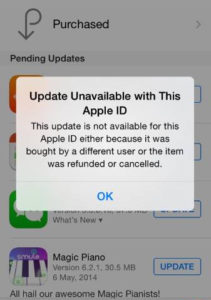 Apple ID error messages