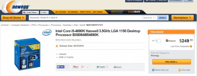 Core i5-4690K Newegg