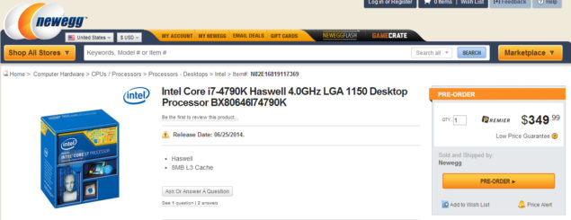 Core i7-4790K Newegg
