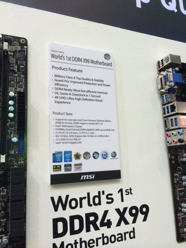 MSI X99 Motherboard Specs