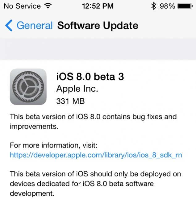 iOS 8 Beta 3 direct download links