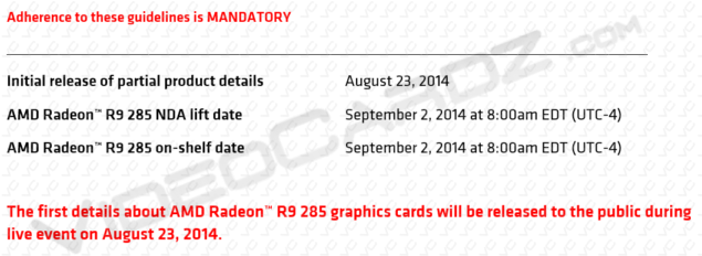 AMD Radeon R9 285 Launch date