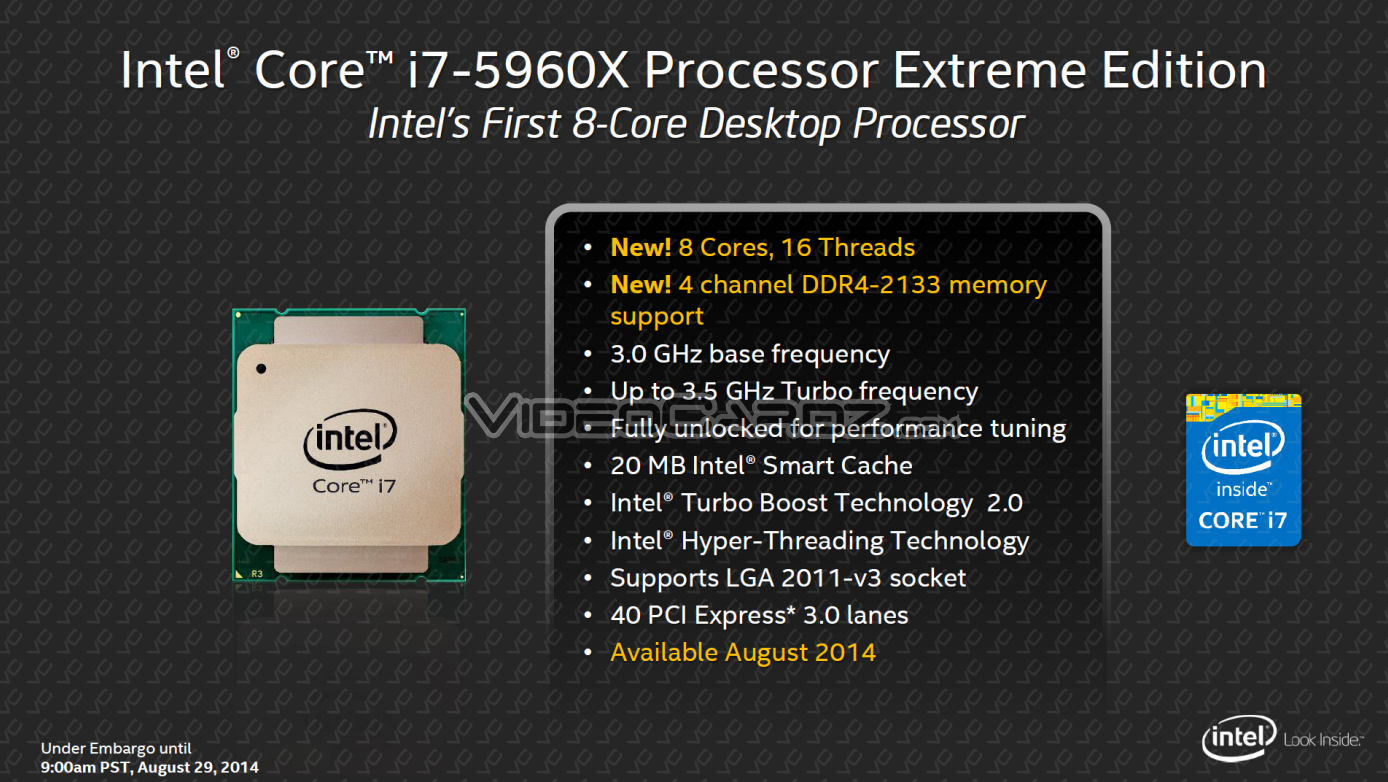 """Rdt tech news: intel core i7-5960x """"haswell-e"""" hedt flagship."""