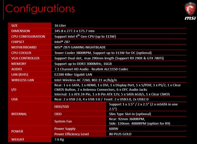 MSI Nightblade Specifications