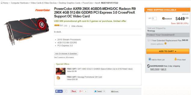 Radeon R9 290X $449 US