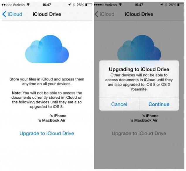 icloud drive in iOS 8
